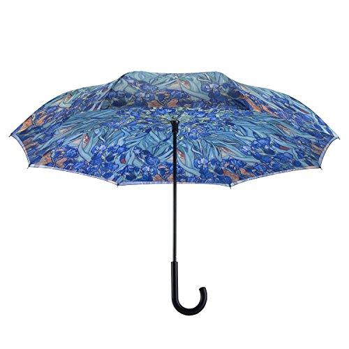 Galleria's Reverse Close Umbrella, Van Gogh Irises with art on both sides.