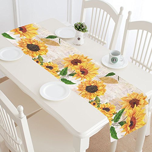 InterestPrint Sunflowers Cotton Table Runner Placemat 16 x 72 inch, Sunny Floral Table Linen Cloth for Office Kitchen Dining Wedding Party Home Decor