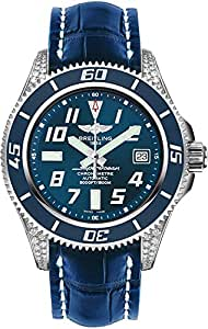 Breitling Superocean 42 Blue Dial Stainless Steel Watch with Diamond Lugs A1736467/C868-719P