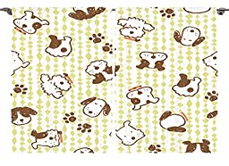 Ambesonne Toddlers Kids Playroom Decor Collection, Modern Pattern with Puppy Dogs and Paws Doodle style Print Home, Window Treatments for Kids Bedroom Curtain 2 Panels Set, 108X63 Inches, White Green