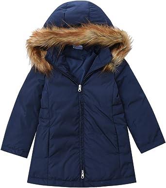 Kids Girls Duck Down Jacket Hooded Long Coat Winter Warm Fur Collar Parka Outwea