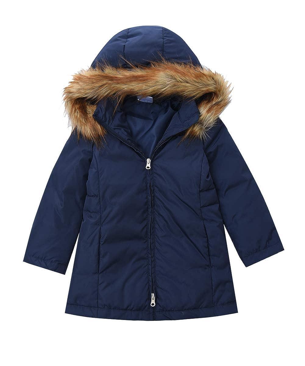 947fb1457347 Amazon.com  M2C Girls Faux Fur Hooded Long Puffer Duck Down Jacket ...