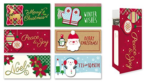 Assorted Holiday Gift Card/Money Holder Cards, Set of 6 Money Holders for Christmas
