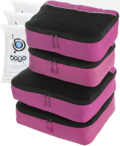 Travel Cubes 4pcs Packing Cube Set - Plus 6pcs Luggage Organizers Bags (PINK)
