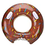 Swim Rings Inflatable Pool Float - Wishtime HQ17001 Pool Swimming Floats for Adults Children Toddler Size Donut with Sprinkles Chocolate