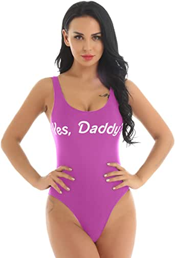 winying Womens One Piece Yes Daddy Letter Print Sleeveless