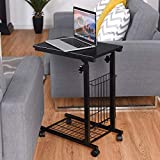 Coffee Table with Wheels Tangkula Sofa Side End Table C Table Laptop Holder End Stand Desk Coffee Tray Side Table Notebook Tablet Beside Bed Sofa Portable Workstation (Black with Wheels)