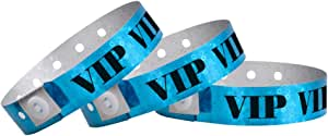 WristCo Holographic Blue VIP Plastic Wristbands - 100 Pack Wristbands for Events