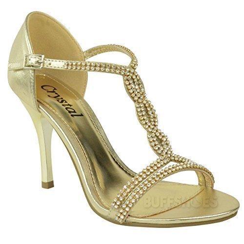 Mode Assoiffé De Femmes Diamante À Talons Hauts Chaussures De Bal Mariage Nuptiale Sandales De Soirée Taille Or
