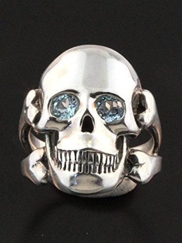 Skull Ring Sterling Silver Large Ring With Gemstone Eyes Skull and Cross Bone Jewelry