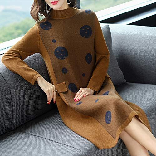 Moda Sweater Lunghi Donna Maglieria Eleganti Cotone Maglioni Slim Casual Marrone Maglie Maglione Skitor Simpatiche Vintage Cargo qPnUxEO0