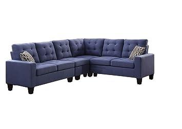 Amazon Com 4 Piece Soft Linen Fabric Reversible Sectional Sofa Set