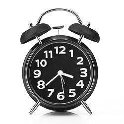 Alarm Clock,Arespark Twin Bell Alarm Clock with Stereoscopic Dial, 4 Quiet Non-ticking Silent Quartz Analog Retro Vintage - Loud Alarm and Nightlight - Black