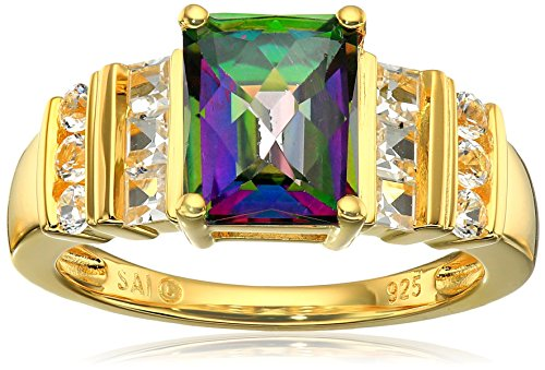 Sterling Silver with Yellow Gold Plating Mystic Fire Topaz and Lab White Sapphire Ring, Size 7