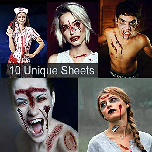 Scar Tattoos, Halloween Temporary Tattoos, Halloween Makeup Kit, Fake Scars Tattoos for Halloween, Waterproof Body Face Wound Zombie Scar Wound Tattoos for Halloween Makeup, Zombie Makeup (Style A)
