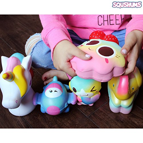 The Original Squishies By Squshums Super Slow Rising, Fruit Scented Jumbo Squishys : 1 Pc Blind Bag : Collect All 5 : Unicorn, Airplane, Heart Cat, Strawberry Cake & Elephant : FREE Carrying Case! Photo #7