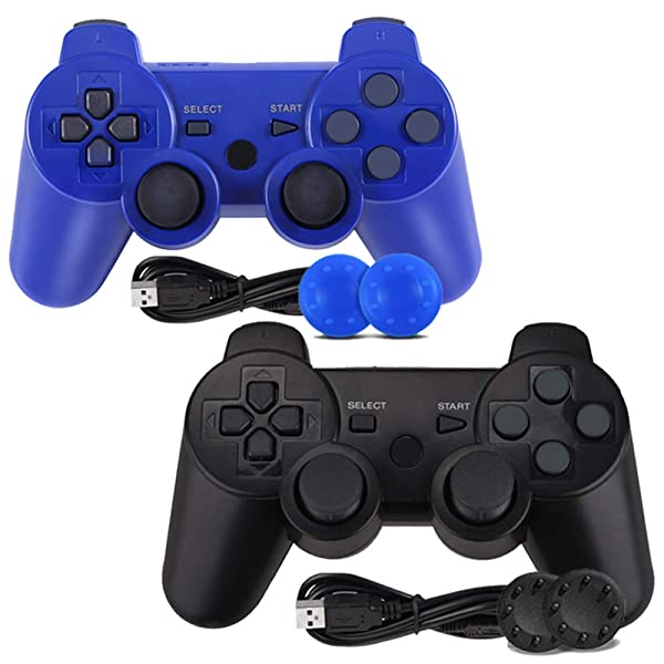 PS3 Controller, Wireless Bluetooth Gamepad Double Vibration Six-Axis Remote Joystick for Playstation 3 with Charging Cord (2-Pack) (Color: 2-pack)
