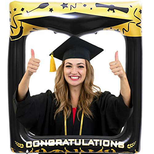 LUOEM Graduation Inflatable Picture Frame Graduation Photo Props Blow Up Photo Booth Props Graduation Decoration Accessory for Graduation Birthday Wedding Party 72 x 61cm