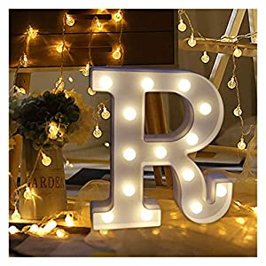 Clearance! Hotsellhome LED Alphabet Letter Lights Light Up Warm White Night Light Plastic Letters Numbers Standing for Home Party Bar Wedding Festival Birthday Decorations Xmas Gifts (R)