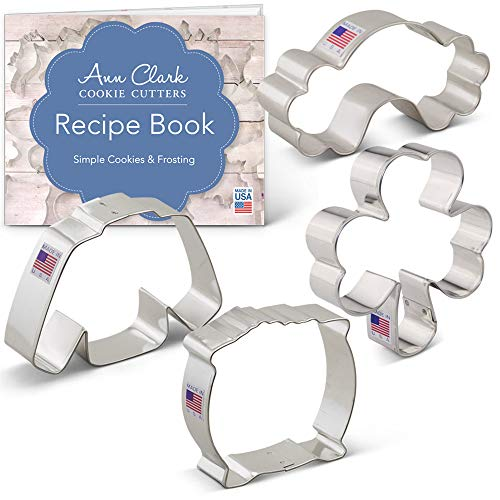 St. Patrick's Day Cookie Cutter Set with Recipe Booklet - 4 piece - Shamrock, Irish Sweater, Rainbow, Pot of Gold - Ann Clark - Tin Plated Steel