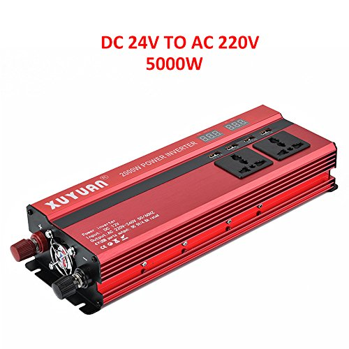 ONEVER Auto 5000W Solar Power Inverter LED DC 24V a 220V AC onda sinusoidale Converter con 4 interfacce USB