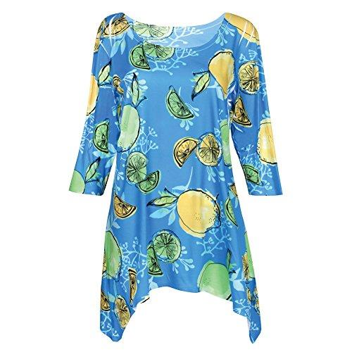 CATALOG CLASSICS Women's Summer Fruit Tunic Top - Lemon/Limes Print 3/4 Sleeve Shirt - XXL