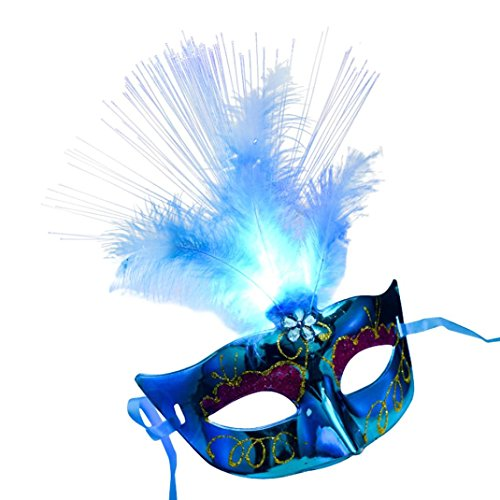 [Halloween Elegant Mask, Efaster Halloween Colorful Fluorescent Peacock Worm LED Princess Feathers Mask (Blue)] (Halloween Masks For Girls)