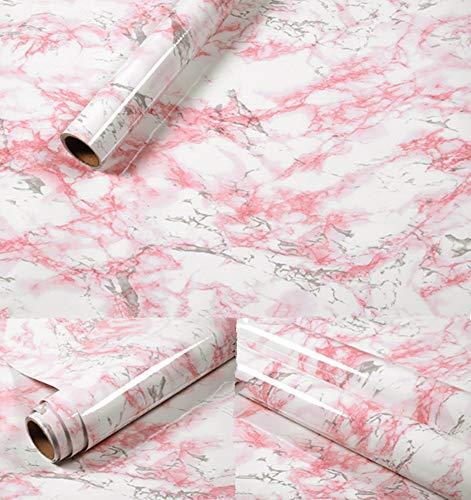 Amao Pink&White Marble Sticker Paper Gloss Vinyl Film Decorative Countertop Self-Adhesive Wallpaper Shelf Liner 24''x79''