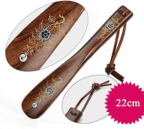 木製のロング靴べら、高齢者や障害、ロングハンドルブートのための柔軟な靴ホーン,22CM