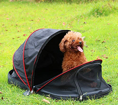 Hillwest Pet Dog Tent, Foldable Portable Outdoor Camping Domed Dog House, Comfortable Shelter Travel Pet Dog Bed, Perfect Design for Your Dog Cat Rabbit (Black, Half Sunshade)