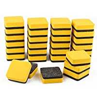 Maosifang 30 Pack Magnetic Whiteboard Dry Eraser Bulk Chalkboard Cleansers Wiper for Classroom Office Home(Yellow, 2 x 2 Inch)