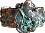 Butterflies and Flower Motif Cuff Bracelet - Amazonite, Jasper