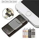 morePower2you 3 in 1 OTG Metal Flash Drive 256GB Mini USB 3.0 Pen Drive For iPhone ipad Apple Android and Windows Device 256GB Black