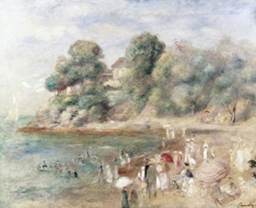 The Beach at Pornic 1892 Pierre Auguste Renoir (1841-1919French) Oil on Canvas Private Collection Poster Print (18 x 24)