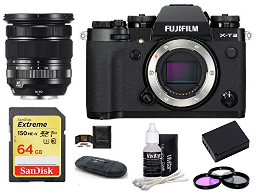 FUJIFILM X-T3 Mirrorless Digital Camera Body with XF 16-80mm f/4 R OIS WR Lens Bundle, Includes: SanDisk 64GB Extreme SDXC Memory Card, Card Reader, Memory Card Wallet + More (8 Items) (Black)