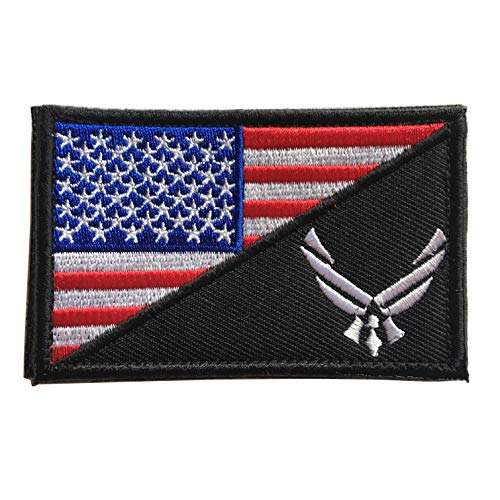 USAF Flag USA Air Force Logo Embroidered Military Tactical Hook & Loop Decorative Patch (Air Force Patch)