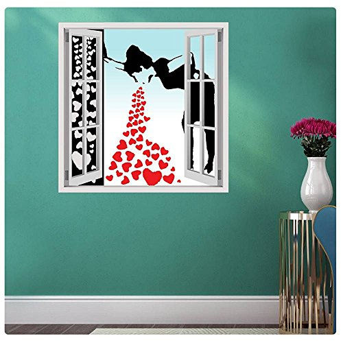 Alonline Art Banksy Collage Lovesick Red Hearts Fake 3D Window POSTER PRINTS ROLLED (Print on Fine Art PHOTO PAPER) 35