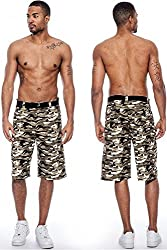 Enimay Men's Colored Camouflage 6 Pocket Cargo Shorts Fitted Summer Bottoms Tan Ecrue 36