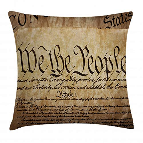 - Ambesonne United States Throw Pillow Cushion Cover, Vintage Constitution Text of America National Glory Fourth of July Image, Decorative Square Accent Pillow Case, 24 X 24 Inches, Pale Brown
