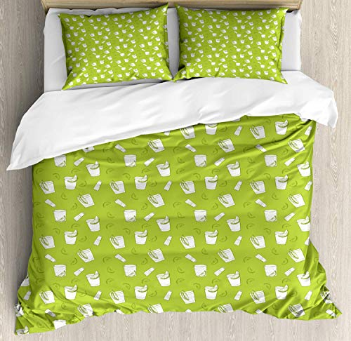 Tequila Bedding Duvet Cover Set, Alcohol Culture Themed Pattern with Drink Glass Salt Shaker and Lemon Slice, Decorative 3 Piece Bedding Set with 2 Pillow Shams, Apple Green White -