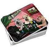 Home of Shar Pei 4 Dogs Playing Poker Photo Storage Tin