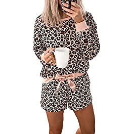 Asvivid Womens Leopard Printed Long Sleeve Short Pajamas Set Summer Soft Tee and Pants PJ Set Sleepwear Loungewear
