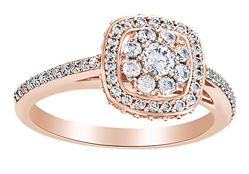 Diamond Ring Cushion Cut Bow (Christmas Sale White Natural Diamond Cluster Cushion Style Engagement Ring In 14K Rose Gold (0.5 Cttw),Ring Size-7.5)