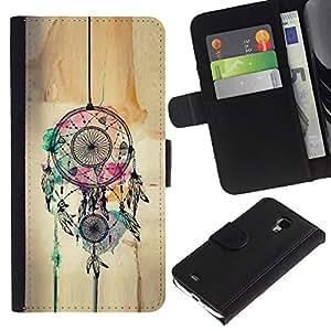 Planetar® Modelo colorido cuero carpeta tirón caso cubierta piel Holster Funda protección Para Samsung Galaxy S4 Mini i9190 / i9195 (Not For S4) ( Catcher Art Hipster Indian )