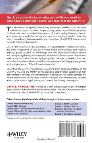 Essentials of mmpi 2 assessment david s nichols alan s kaufman essentials of mmpi 2 assessment david s nichols alan s kaufman 9780470923238 clinical psychology amazon canada fandeluxe Image collections