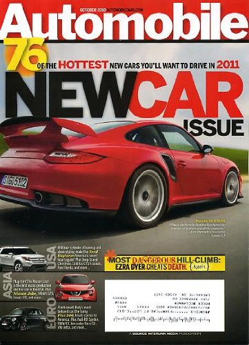 Automobile October 2010 Porsche 911 GT2 RS on Cover, New Car Issue - 76 Hottest 2011 Cars, Nissan Juke, Fiat 500, Ford Explorer