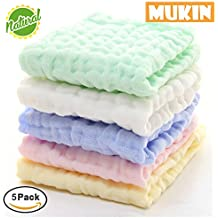 Baby Muslin Washcloths - Natural Muslin Cotton Baby Wipes - Soft Newborn Baby Face Towel and Muslin Washcloth for Sensitive Skin- Baby Registry as Shower Gift, 5 Pack 10x10 inches By MUKIN