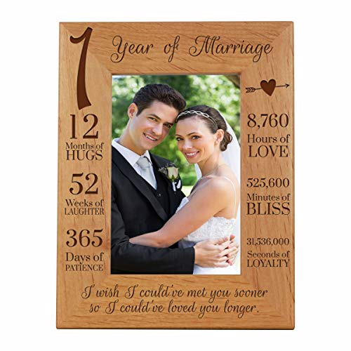 LifeSong Milestones 1st Anniversary Picture Frame 1 Year of Marriage - One Year Wedding Keepsake Gift for Parents Husband Wife him her Holds 5x7 Photo - I Wish I Could Have Met You Sooner (7.5x9.5)