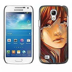 Qstar Arte & diseño plástico duro Fundas Cover Cubre Hard Case Cover para SAMSUNG Galaxy S4 mini VERSION! / i9190 / i9192 ( Tears Drop Girl Face Portrait Sad Heartbrake)