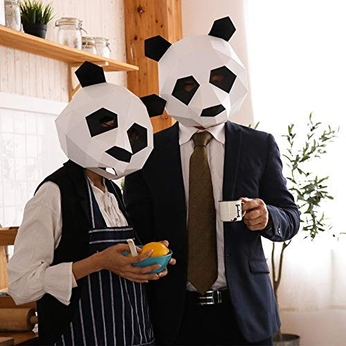 Yichener DIY Animal Mask Cosplay Costume Panda Adult Children Cardboard Breathable Halloween Party Decortion Party Tricky Funny -